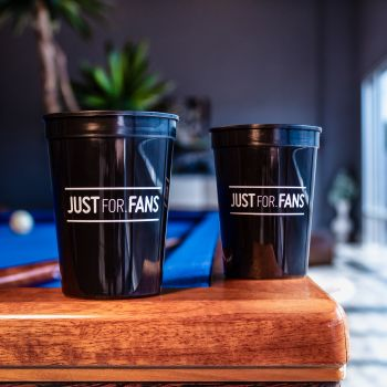 12 oz Black Cup with White Imprint Color