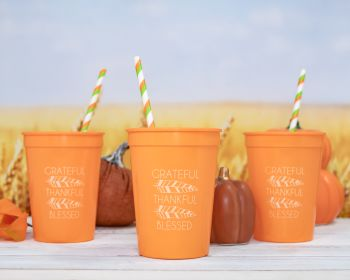 12 oz Orange Cup with White Imprint Color